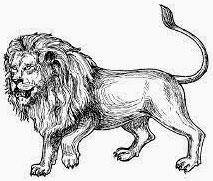 Lion circling facing left