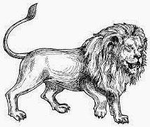 Lion circling facing right