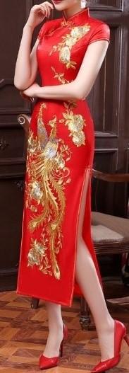 Chinese slit silk dress