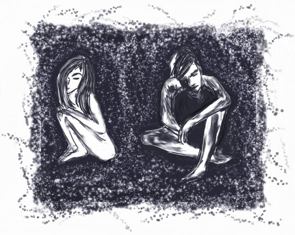 illustration of depressed lovers