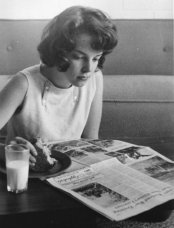 Ann looking at Glendale News